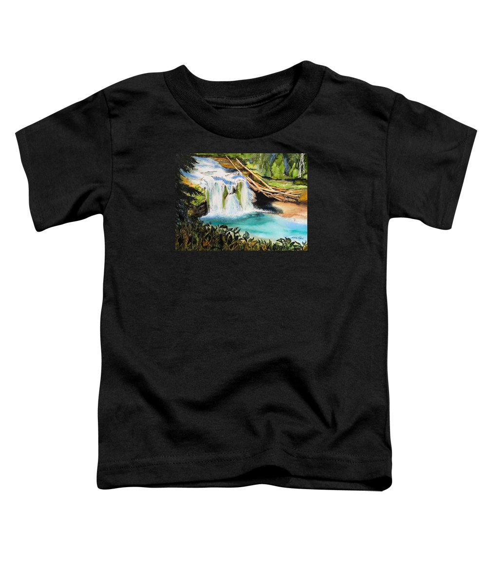 Water Toddler T-Shirt featuring the painting Lewis River Falls by Karen Stark