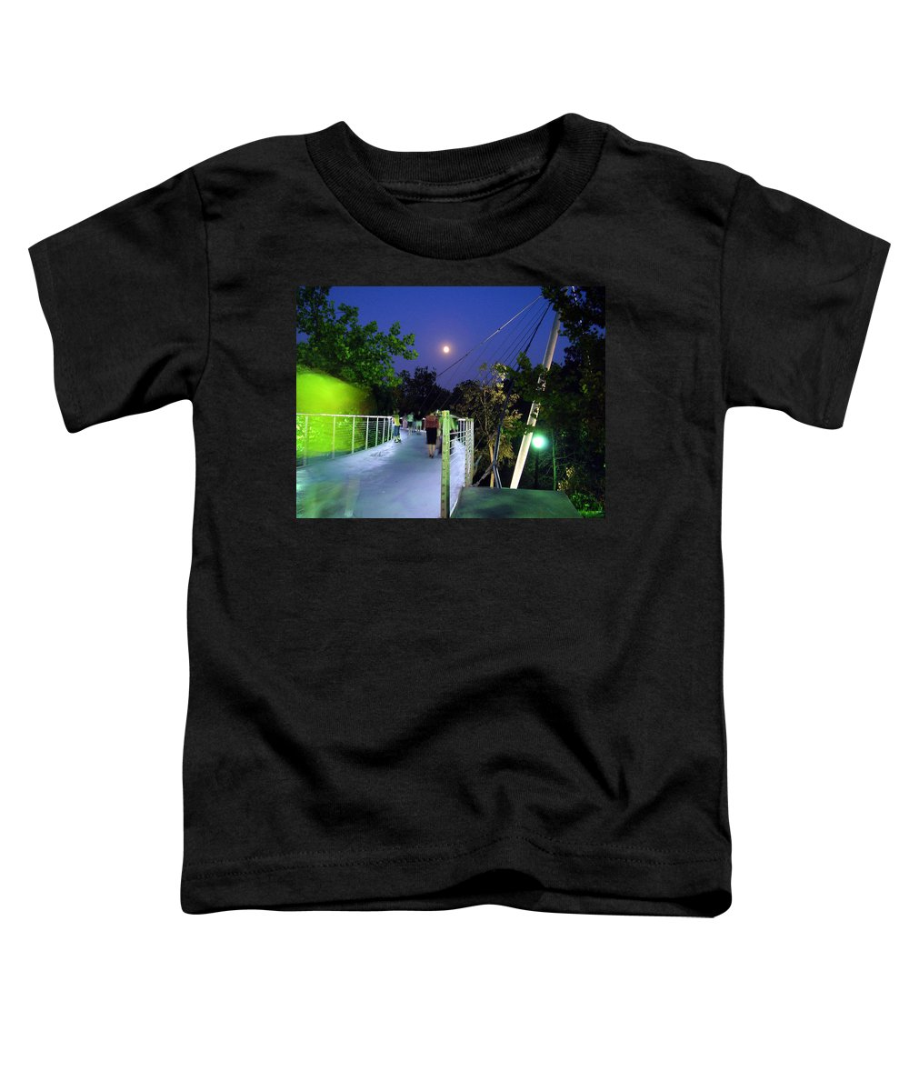 Liberty Bridge Toddler T-Shirt featuring the photograph Liberty Bridge At Night Greenville South Carolina by Flavia Westerwelle