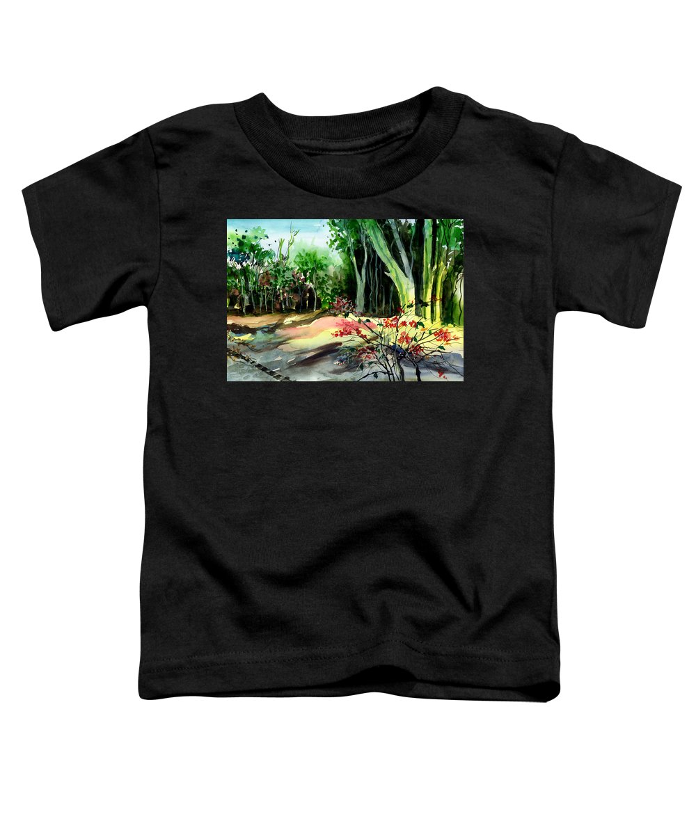 Watercolor Toddler T-Shirt featuring the painting Light In The Woods by Anil Nene