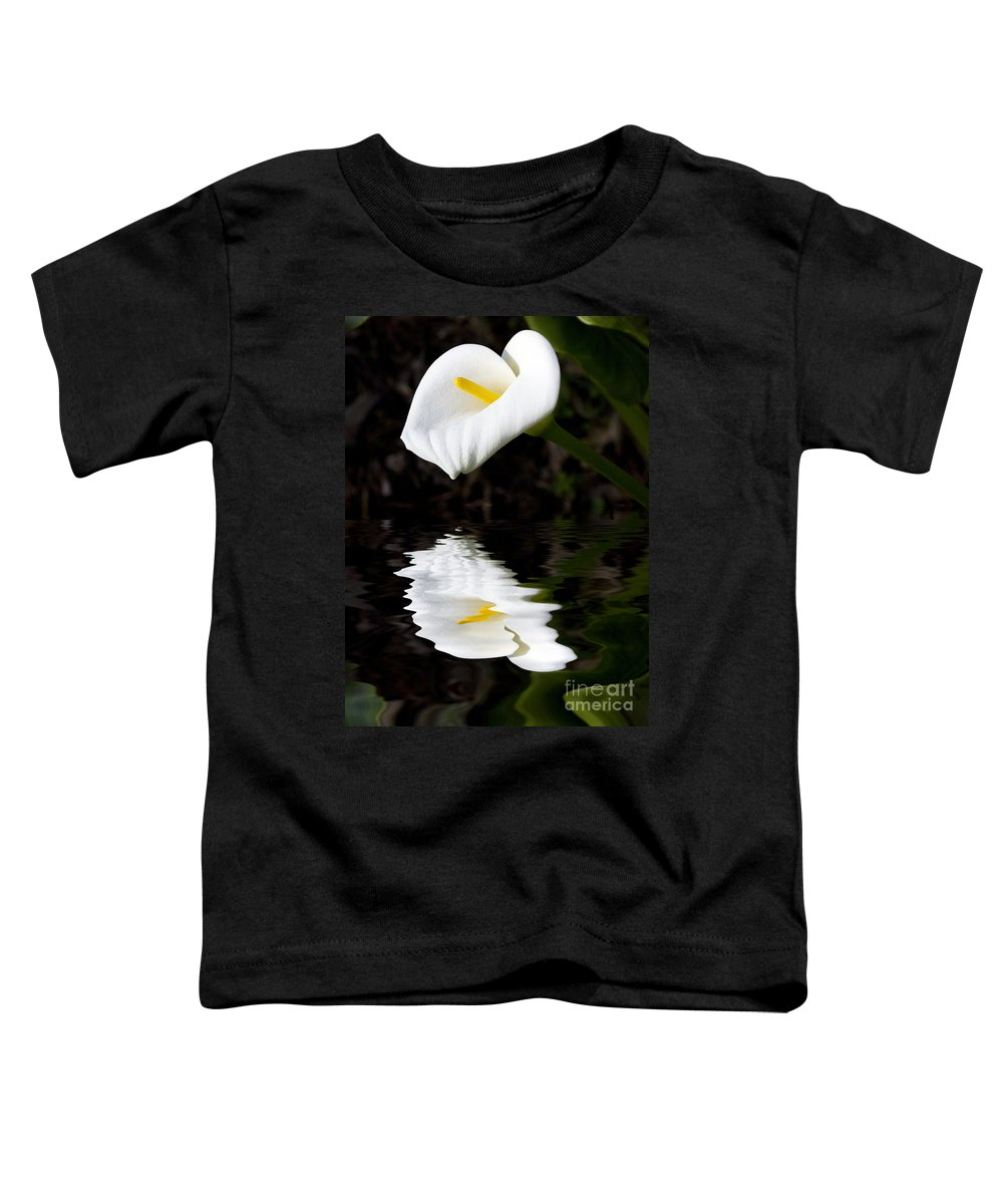 Lily Reflection Flora Flower Toddler T-Shirt featuring the photograph Lily Reflection by Avalon Fine Art Photography