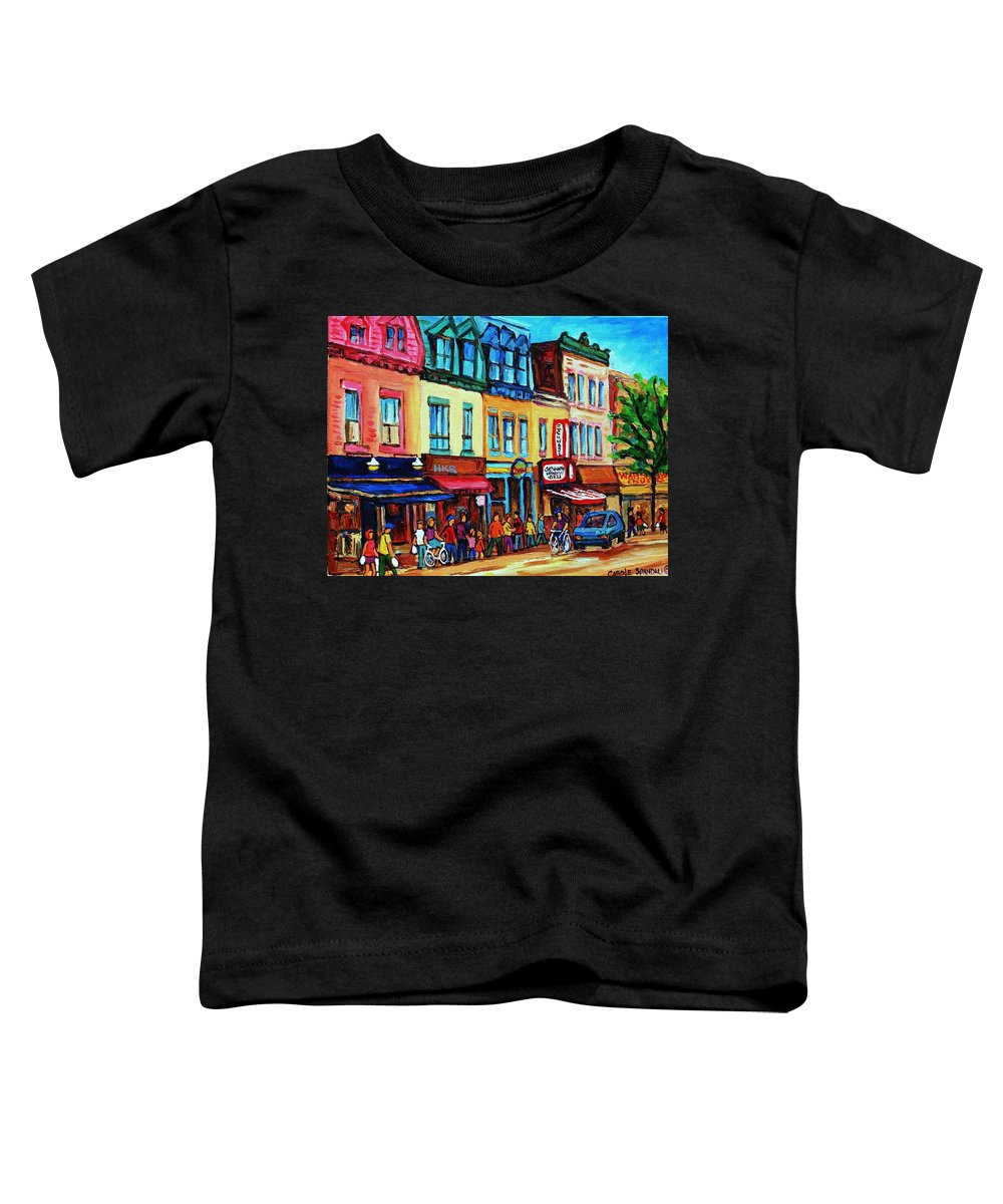 Cityscape Toddler T-Shirt featuring the painting Lineup For Smoked Meat Sandwiches by Carole Spandau