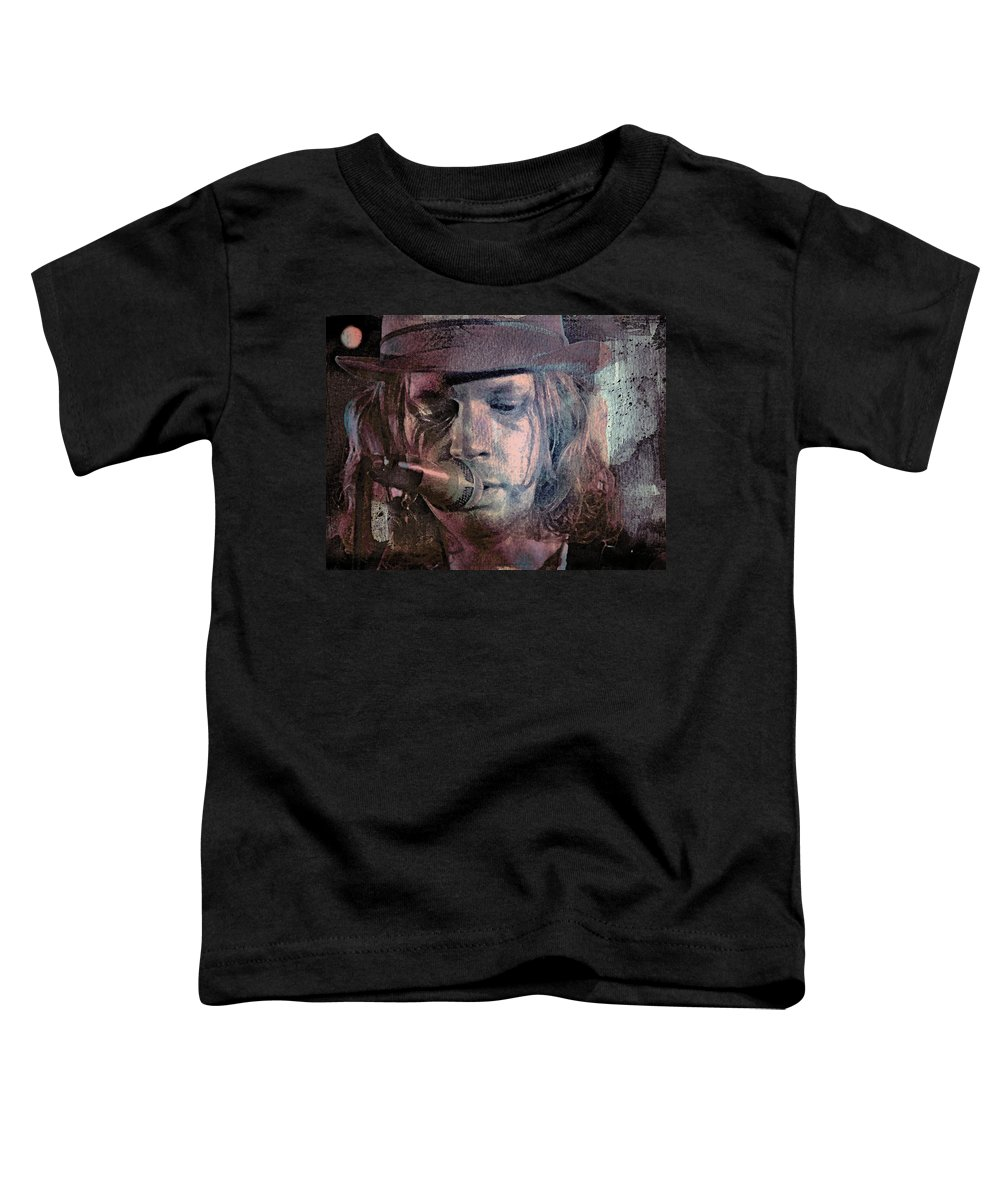 Beck Toddler T-Shirt featuring the mixed media Lonesome Tears by Mal Bray