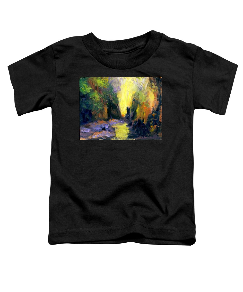 Landscape Toddler T-Shirt featuring the painting Lost Creek by Gail Kirtz
