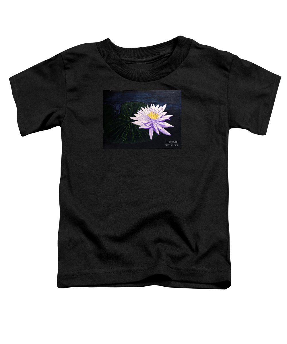 Original Painting Toddler T-Shirt featuring the painting Lotus Blossom At Night by Patricia Griffin Brett