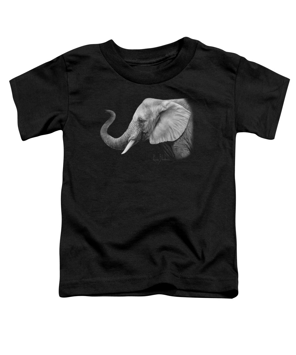 Elephant Toddler T-Shirt featuring the painting Lucky - Black and White by Lucie Bilodeau