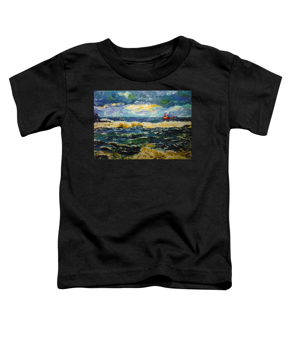 Sea Toddler T-Shirt featuring the painting Mad Sea by Ericka Herazo