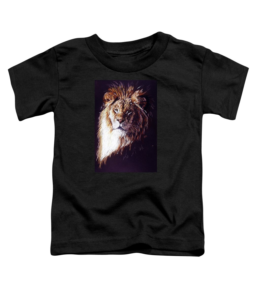 Lion Toddler T-Shirt featuring the drawing Maestro by Barbara Keith