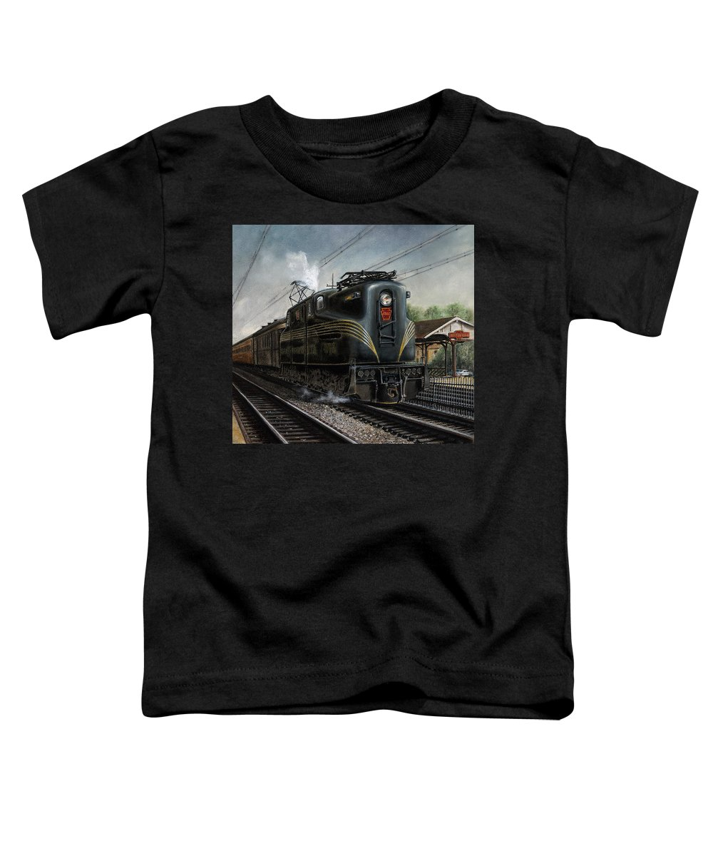 Trains Toddler T-Shirt featuring the painting Mainline Memories by David Mittner