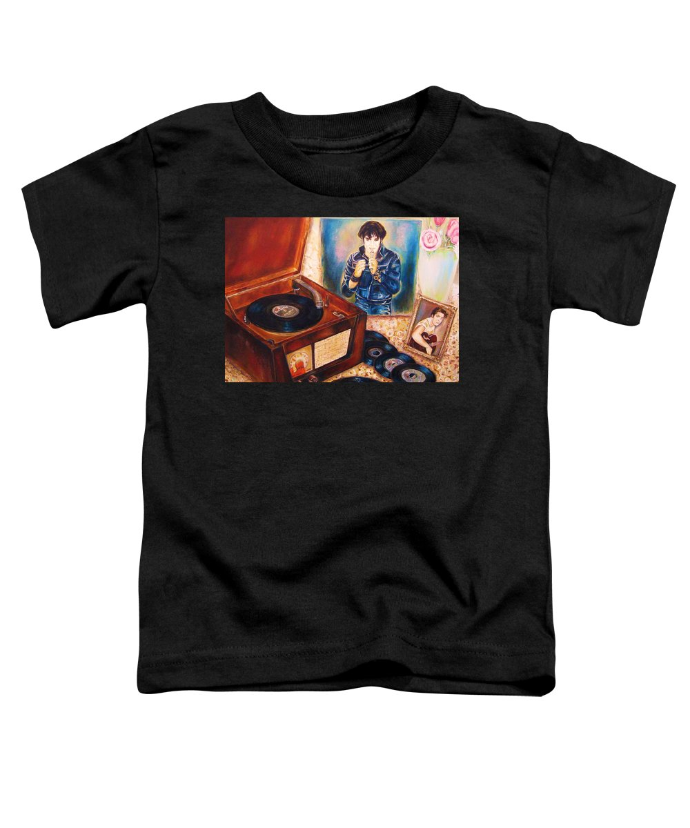 Elvis Toddler T-Shirt featuring the painting Mama Loved The Roses by Carole Spandau