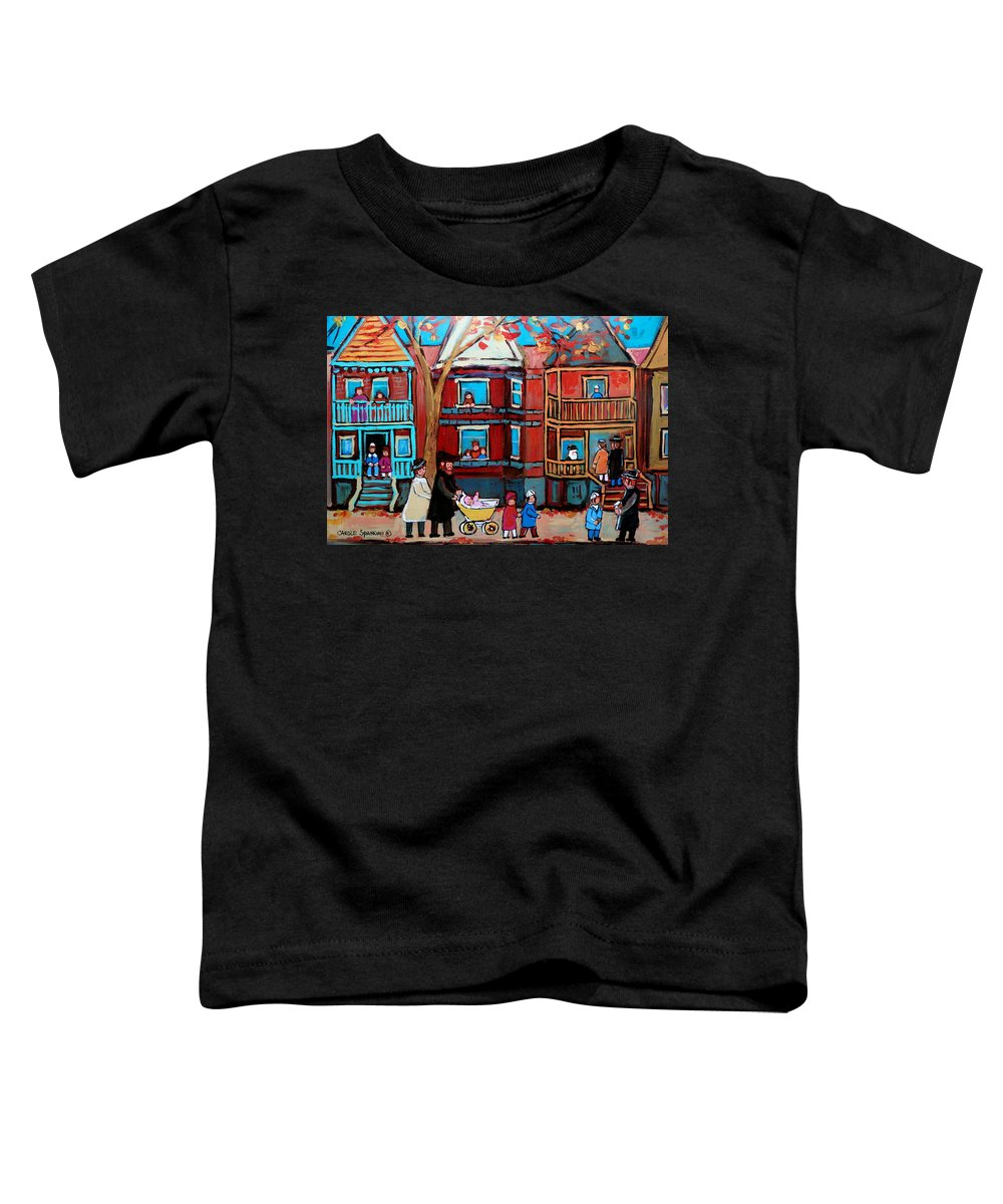 Hassidic Community Toddler T-Shirt featuring the painting Mama Papa And New Baby by Carole Spandau