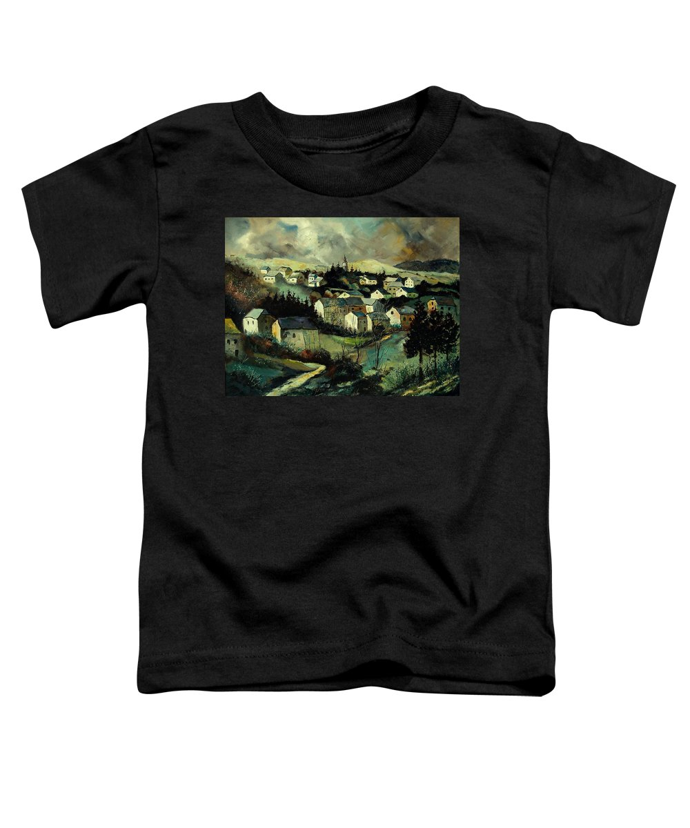 Winter Toddler T-Shirt featuring the painting Masbourg by Pol Ledent