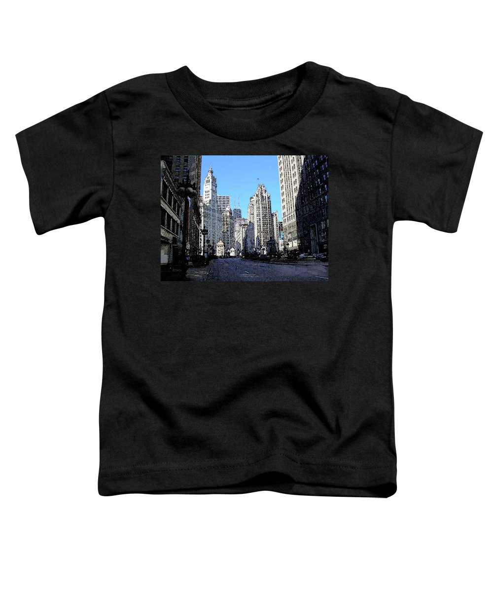 Chicago Toddler T-Shirt featuring the digital art Michigan Ave Wide by Anita Burgermeister