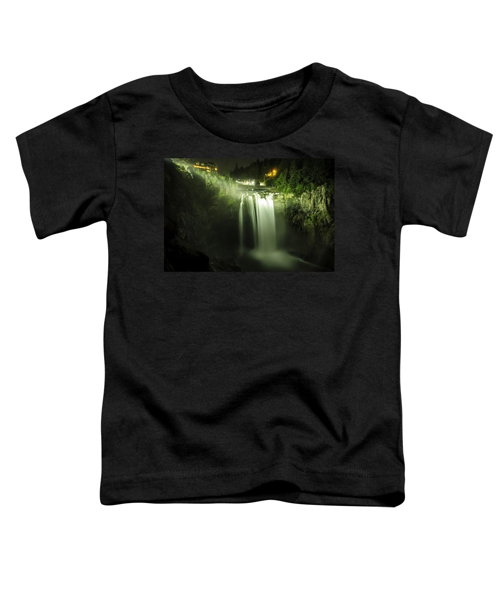 Snoqualmie Falls Toddler T-Shirt featuring the photograph Midnight Curtain by Ryan McGinnis