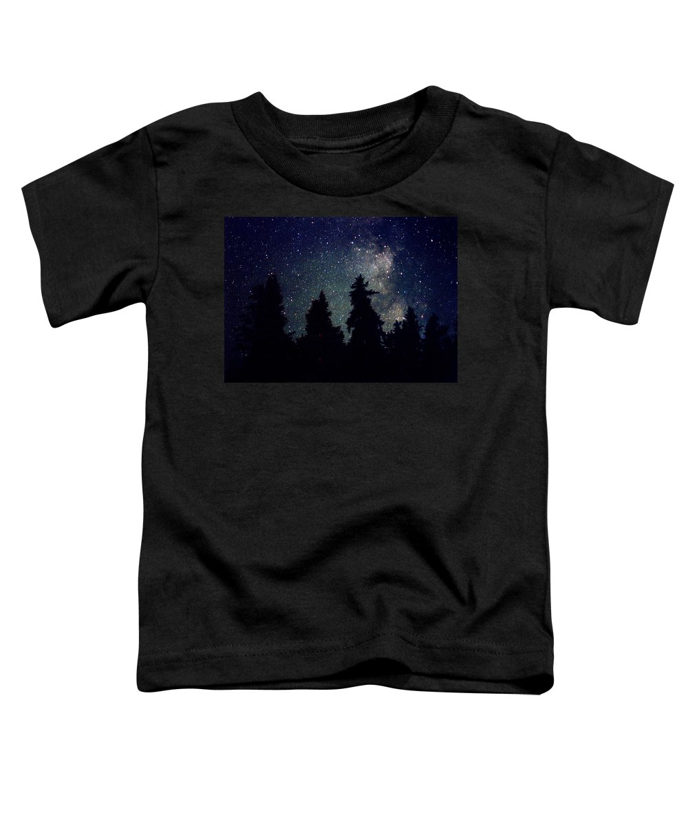Milky Way Toddler T-Shirt featuring the photograph Milky Way Above Northern Forest 22 by Lyle Crump