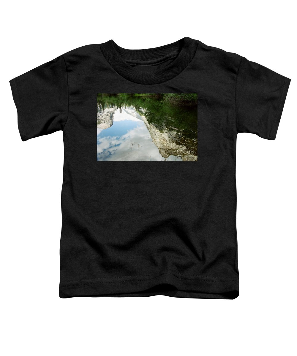 Mirror Lake Toddler T-Shirt featuring the photograph Mirrored by Kathy McClure