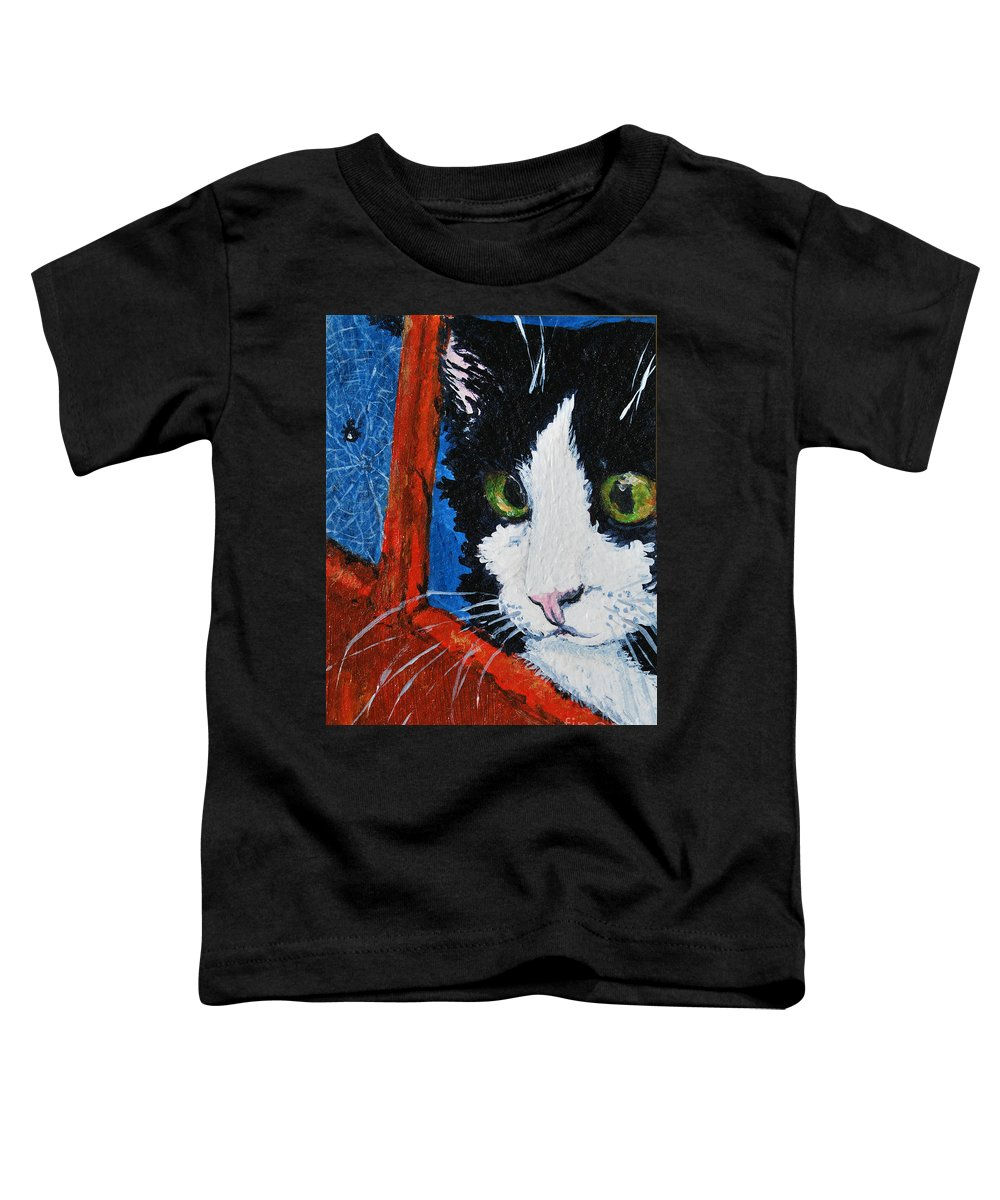 Cat Toddler T-Shirt featuring the painting Molly by Reina Resto