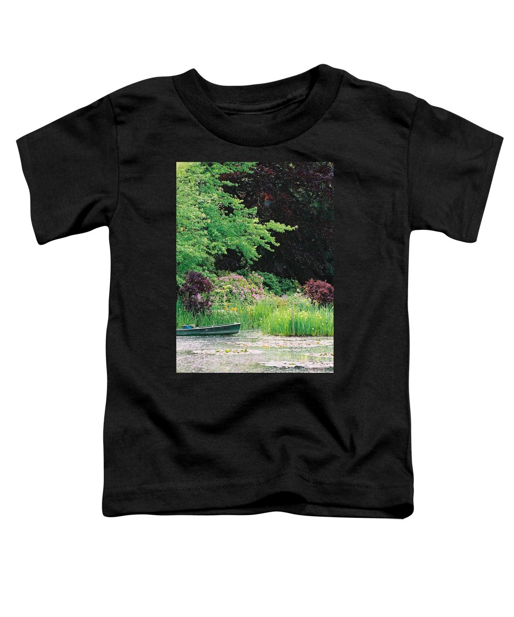 Monet Toddler T-Shirt featuring the photograph Monet's Garden Pond And Boat by Nadine Rippelmeyer