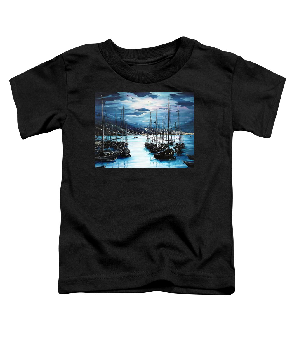 Ocean Painting  Caribbean Seascape Painting Moonlight Painting Yachts Painting Marina Moonlight Port Of Spain Trinidad And Tobago Painting Greeting Card Painting Toddler T-Shirt featuring the painting Moonlight Over Port Of Spain by Karin Dawn Kelshall- Best