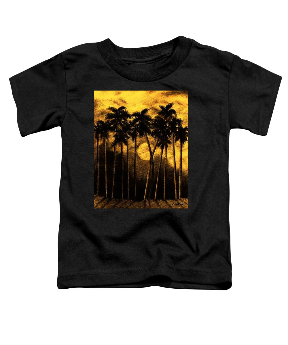 Moonlit Palm Trees In Yellow Toddler T-Shirt featuring the mixed media Moonlit Palm Trees In Yellow by Larry Lehman