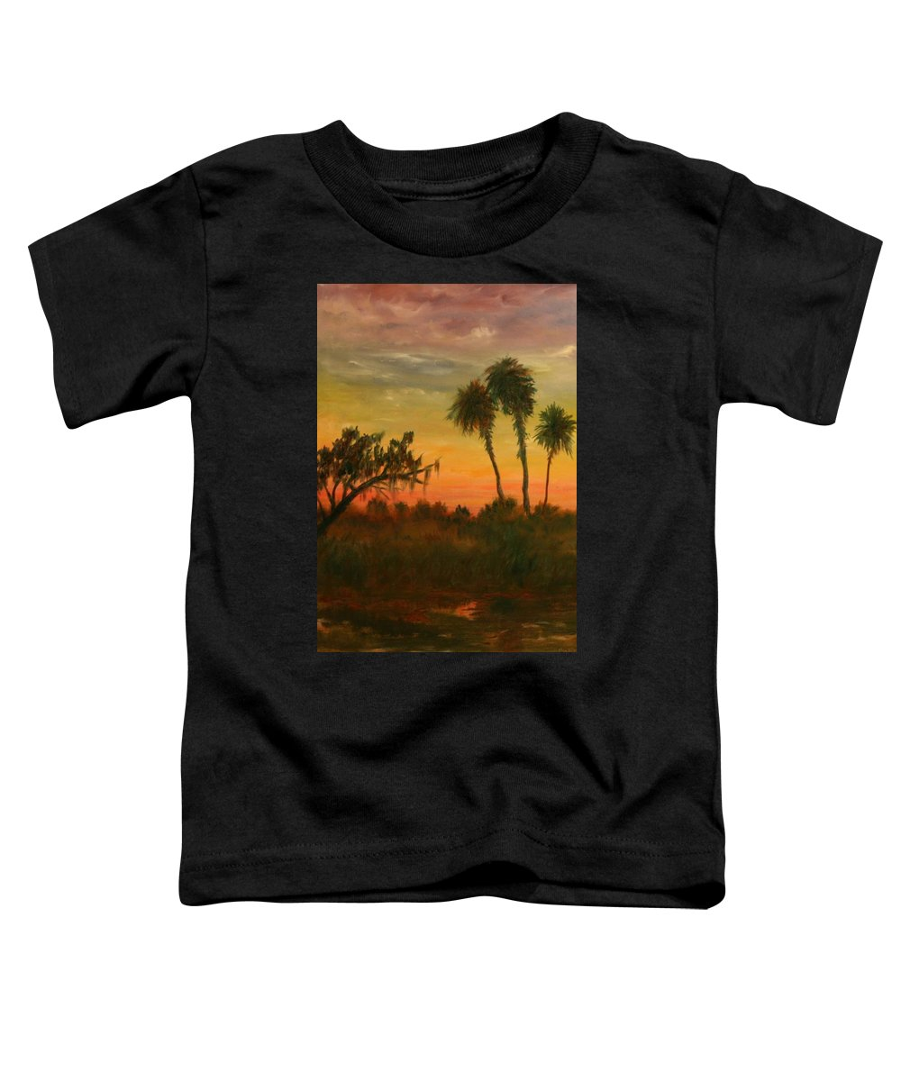 Palm Trees; Tropical; Marsh; Sunrise Toddler T-Shirt featuring the painting Morning Fog by Ben Kiger
