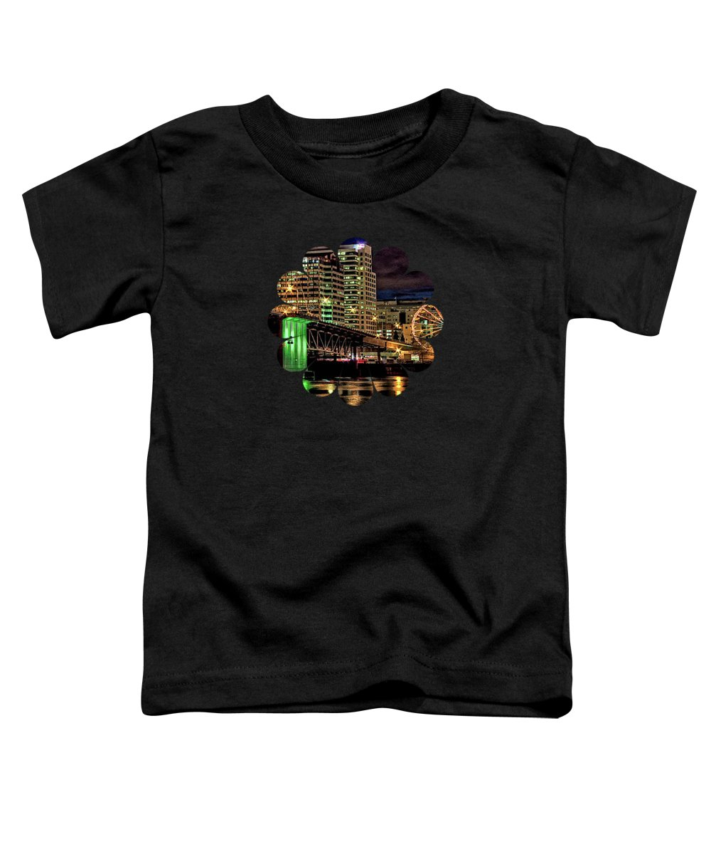 Ferris Wheel Pictures Toddler T-Shirt featuring the photograph Morrison Bridge At The Cinco De Mayo Celebration by Thom Zehrfeld
