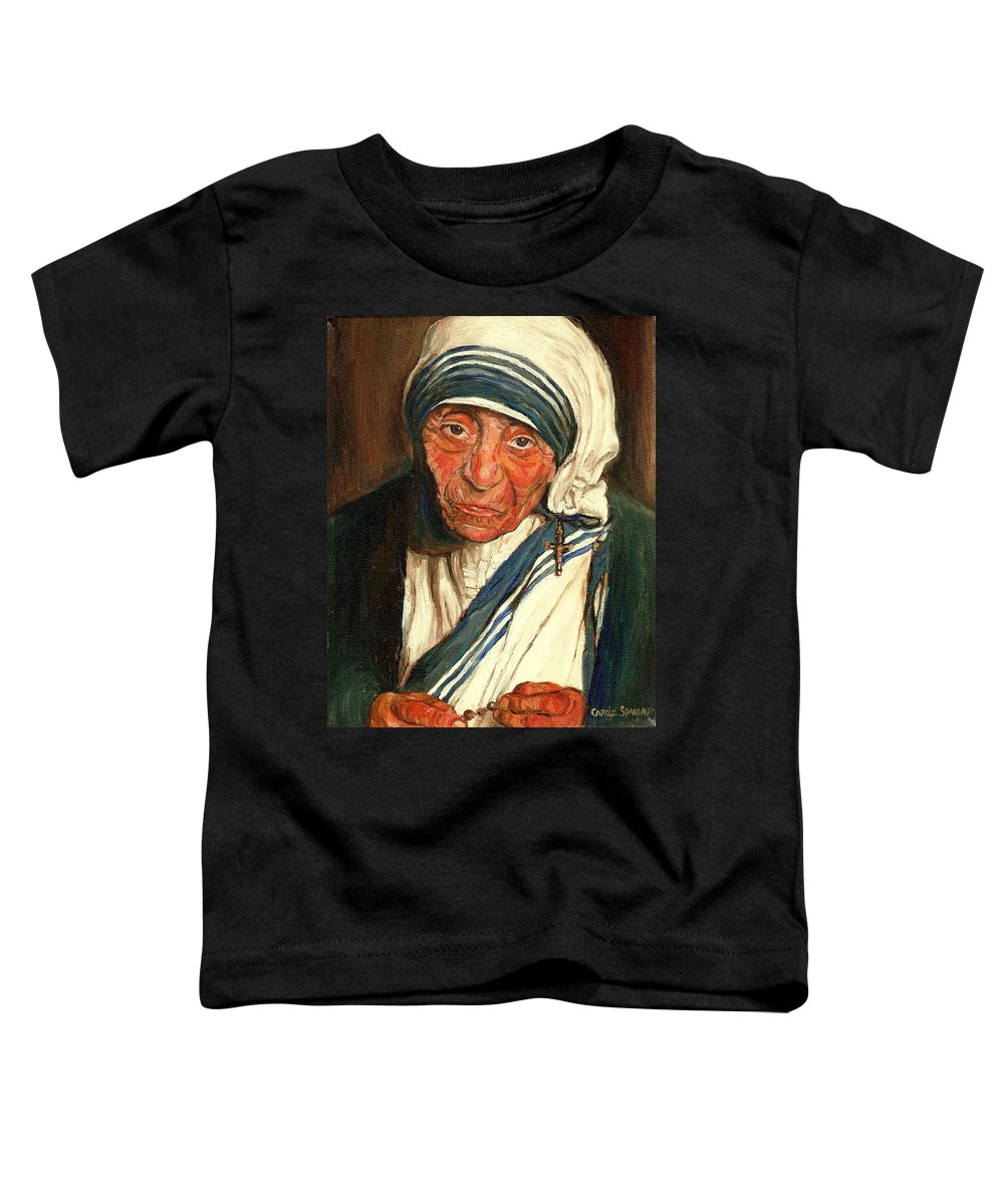 Mother Teresa Toddler T-Shirt featuring the painting Mother Teresa by Carole Spandau