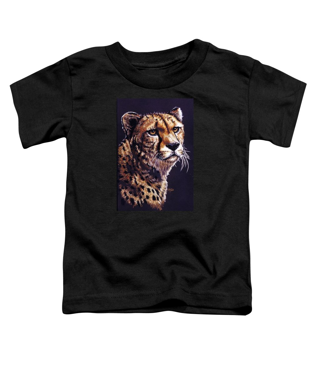 Cheetah Toddler T-Shirt featuring the drawing Movin On by Barbara Keith