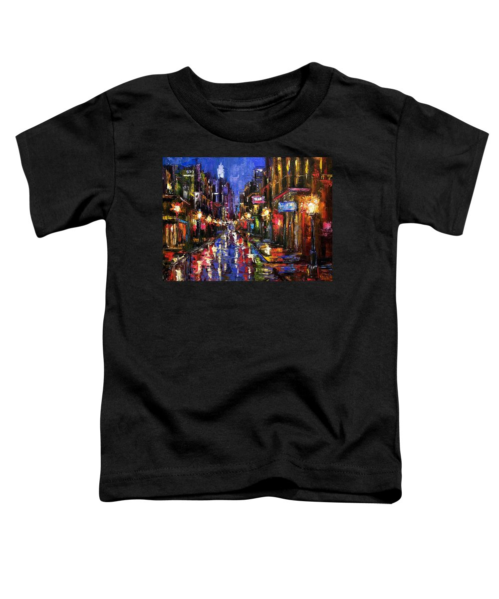 Cityscape Toddler T-Shirt featuring the painting New Orleans Storm by Debra Hurd