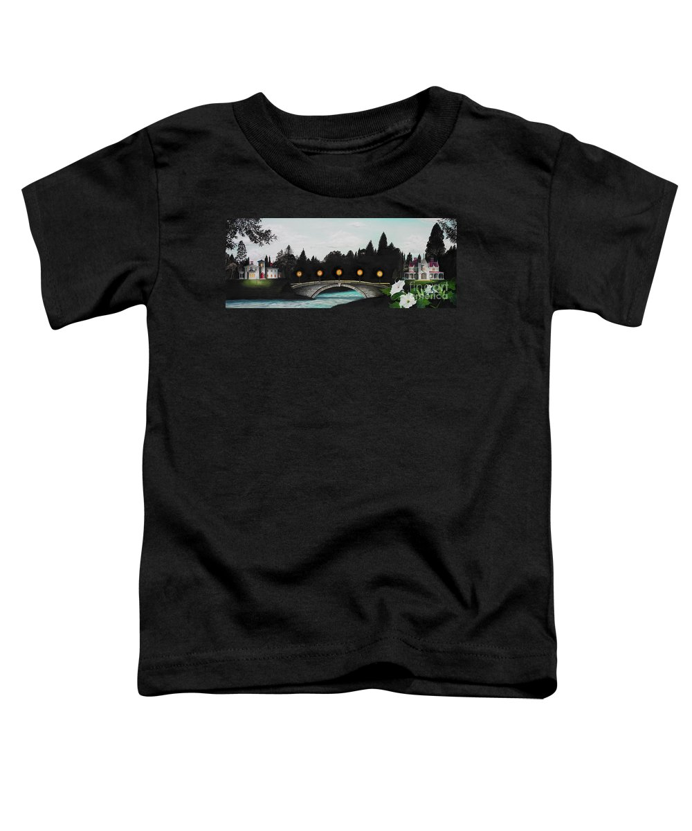Architecture Toddler T-Shirt featuring the painting Night Bridge by Melissa A Benson