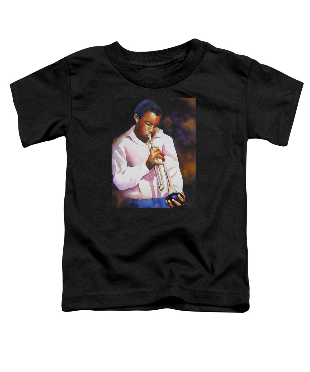 Trumpet Toddler T-Shirt featuring the painting Night Music by Karen Stark