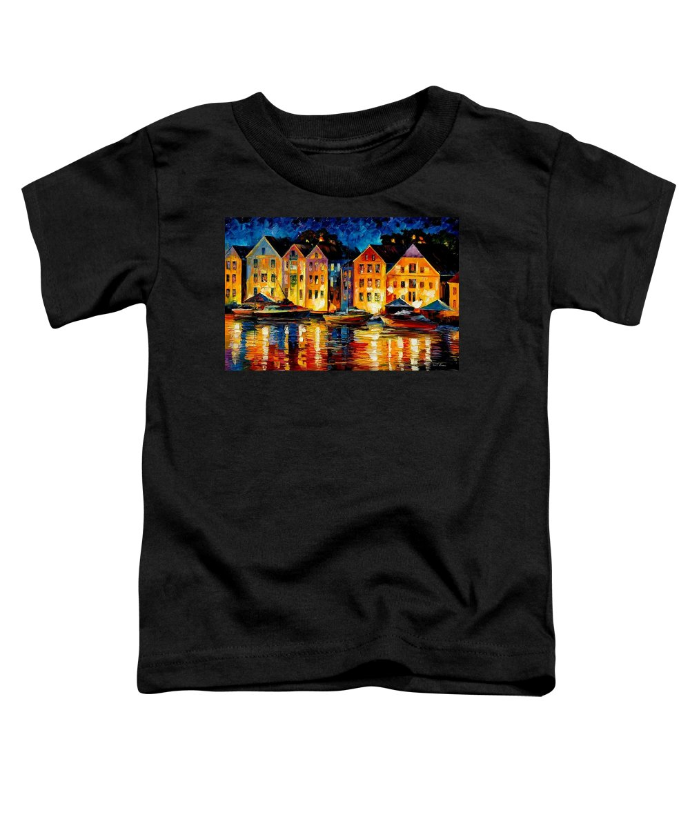 City Toddler T-Shirt featuring the painting Night Resting Original Oil Painting by Leonid Afremov