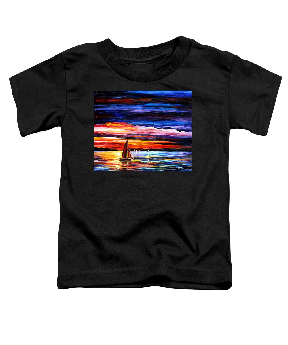 Seascape Toddler T-Shirt featuring the painting Night Sea by Leonid Afremov