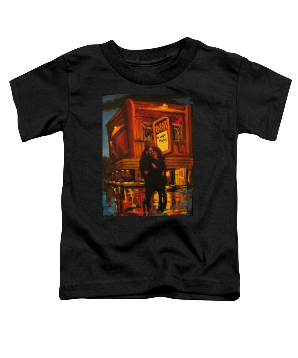 Wet Streets Toddler T-Shirt featuring the painting No Longer Playing by John Malone