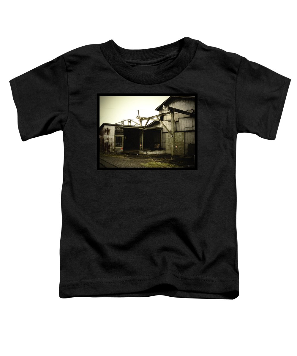 Warehouse Toddler T-Shirt featuring the photograph No Trespassing by Tim Nyberg
