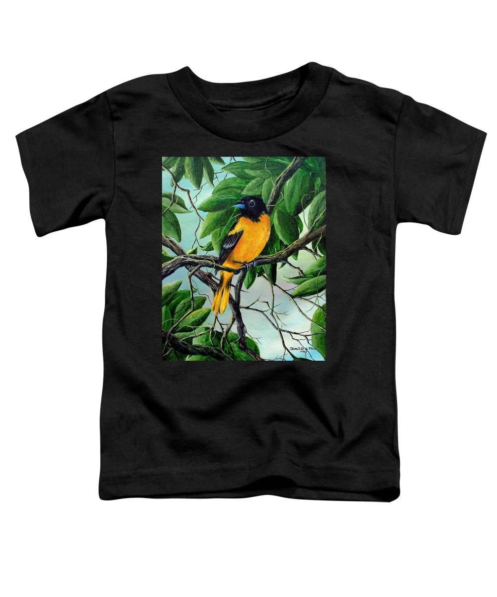 Oriole Toddler T-Shirt featuring the painting Northern Oriole by David G Paul