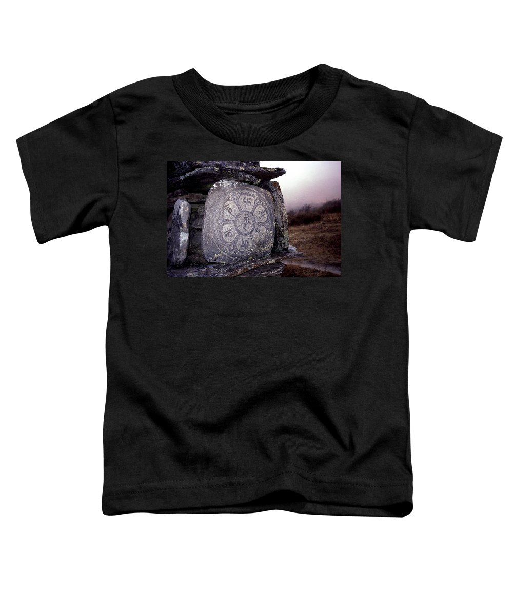 Langtang Toddler T-Shirt featuring the photograph Om Mani Padme Hum by Patrick Klauss