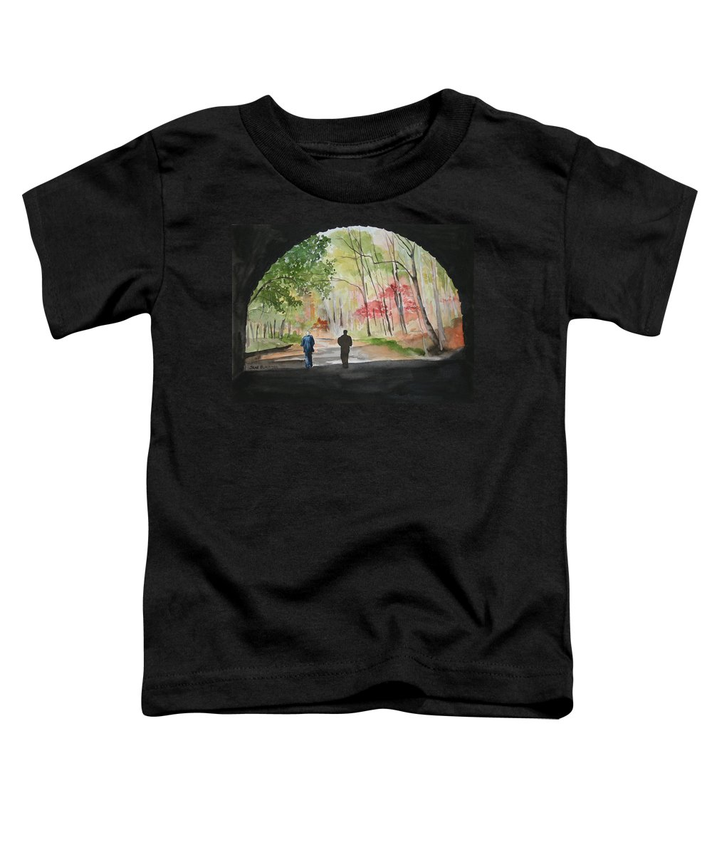 Road Toddler T-Shirt featuring the painting On The Road To Nowhere by Jean Blackmer