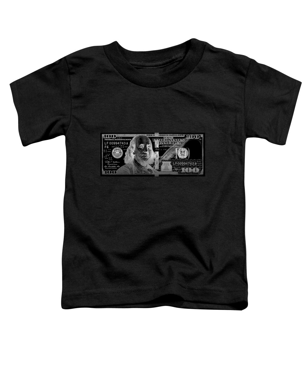 'visual Art Pop' Collection By Serge Averbukh Toddler T-Shirt featuring the digital art One Hundred Us Dollar Bill - $100 Usd In Silver On Black by Serge Averbukh