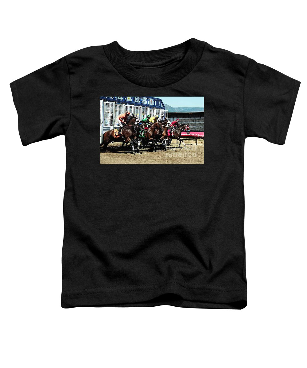 Horse Toddler T-Shirt featuring the photograph Only A Mile To Go by Kathy McClure