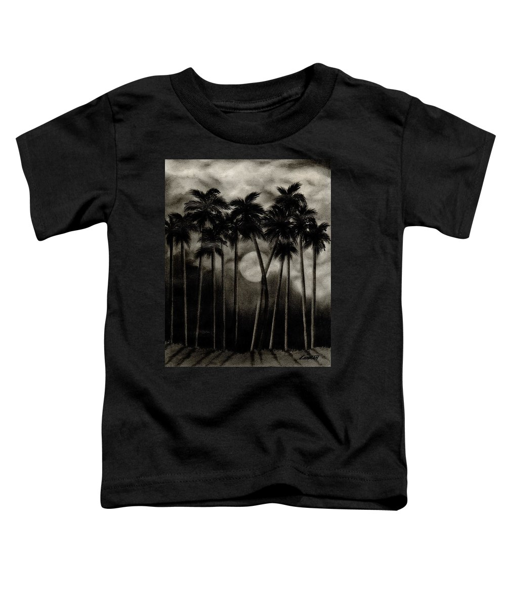 Original Moonlit Palm Trees Toddler T-Shirt featuring the drawing Original Moonlit Palm Trees by Larry Lehman
