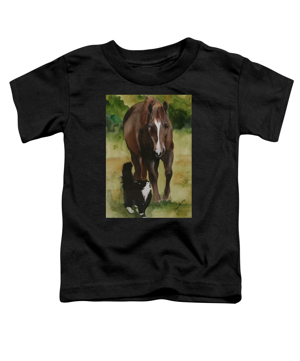 Horse Toddler T-Shirt featuring the painting Oscar And Friend by Jean Blackmer