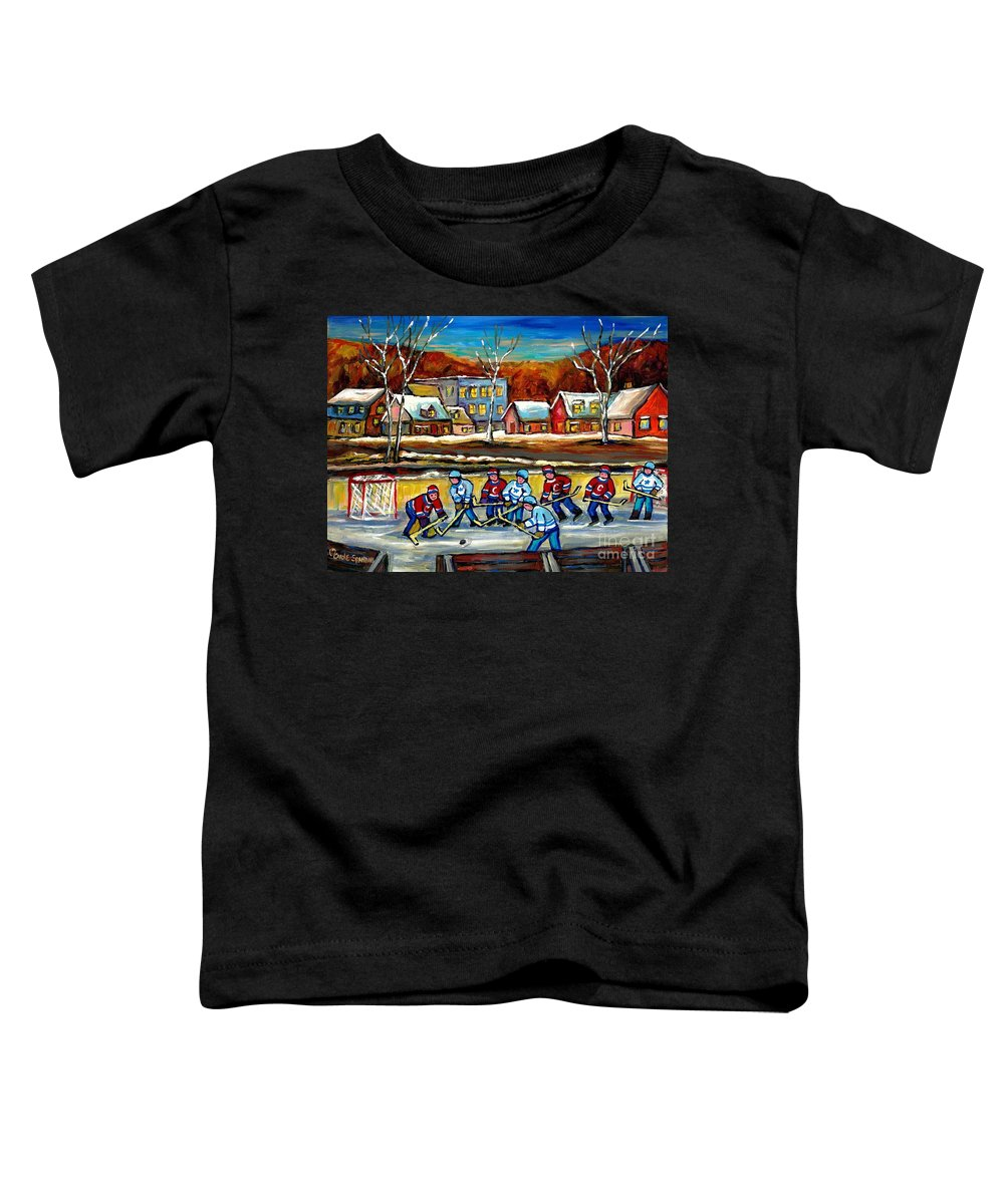 Country Hockey Rink Toddler T-Shirt featuring the painting Outdoor Hockey Rink by Carole Spandau