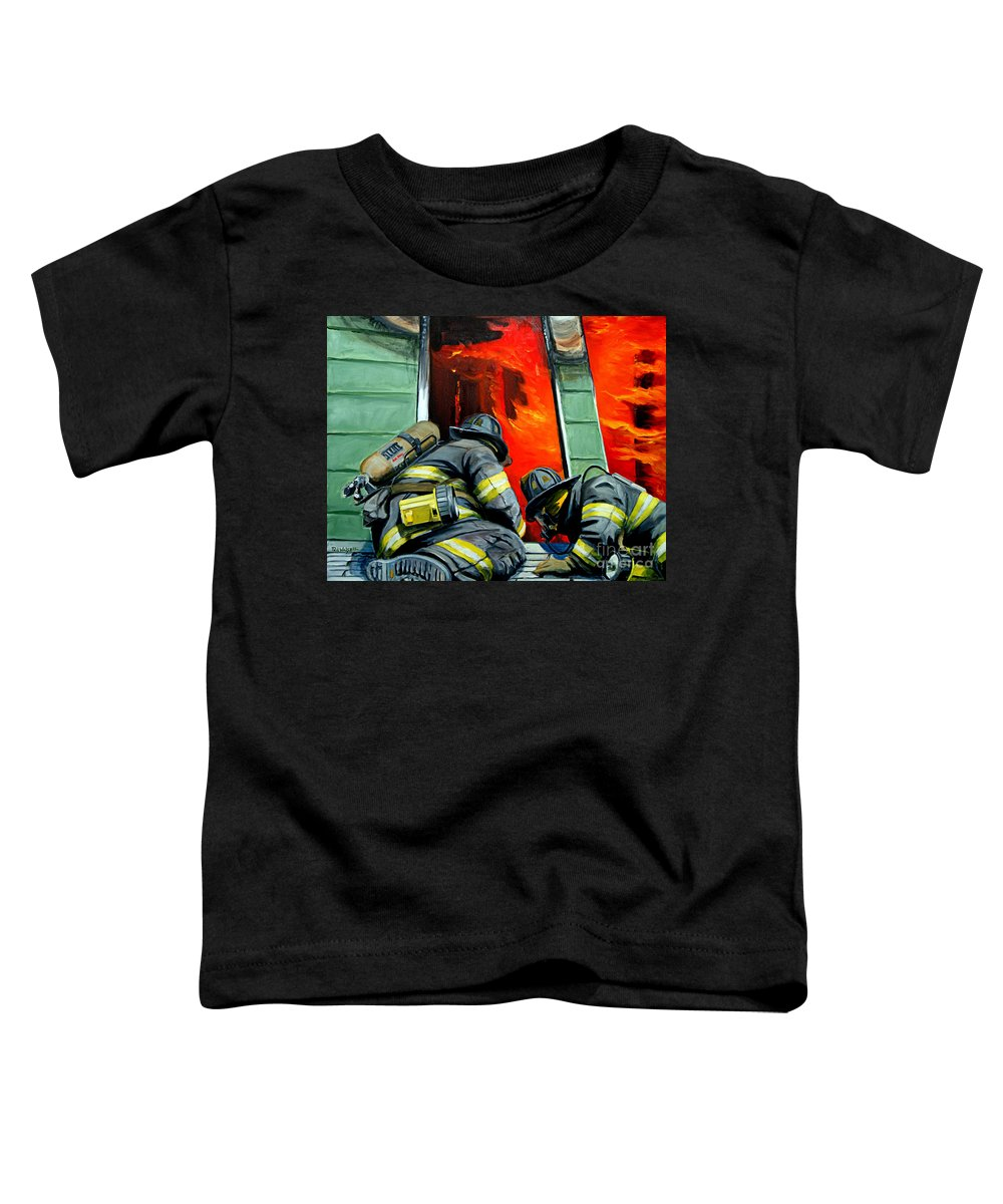 Firefighting Toddler T-Shirt featuring the painting Outside Roof by Paul Walsh