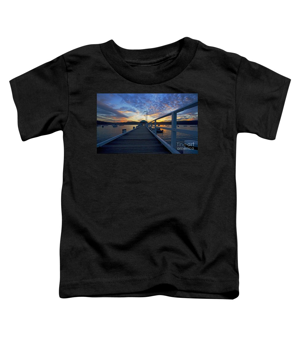 Palm Beach Sydney Wharf Sunset Dusk Water Pittwater Toddler T-Shirt featuring the photograph Palm Beach Wharf At Dusk by Sheila Smart Fine Art Photography