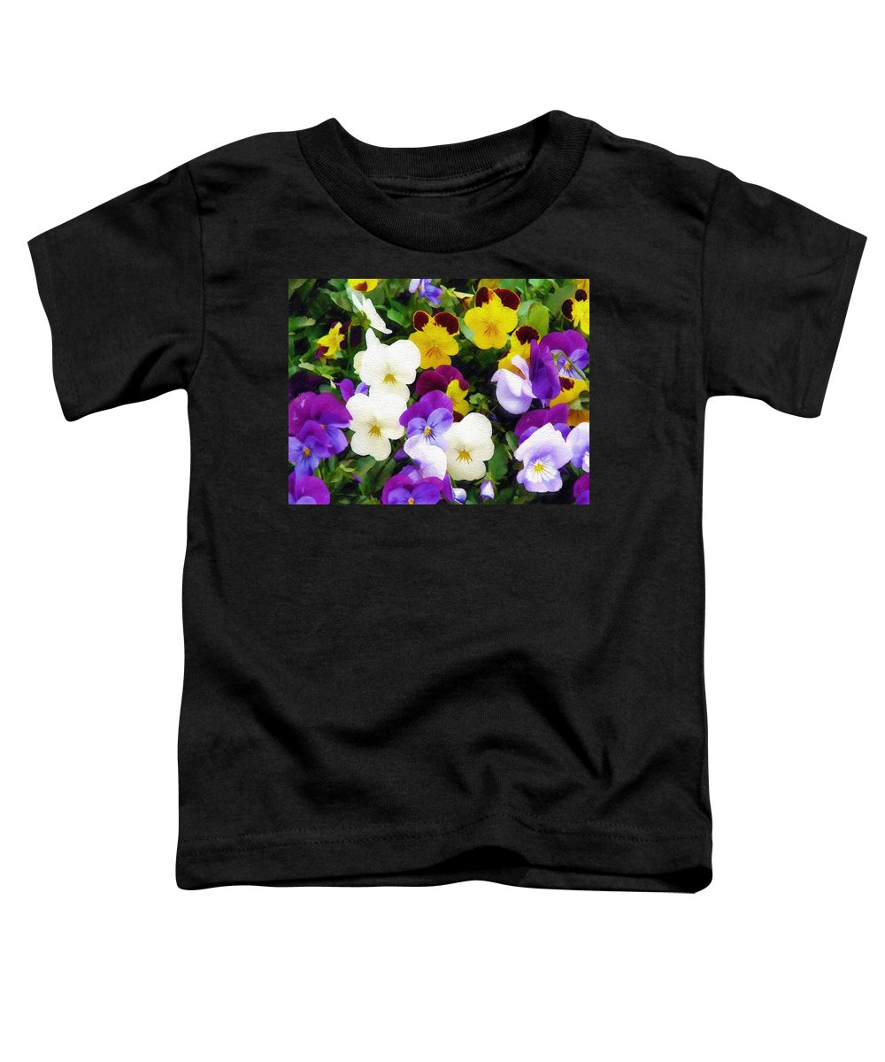 Pansies Toddler T-Shirt featuring the photograph Pansies by Sandy MacGowan