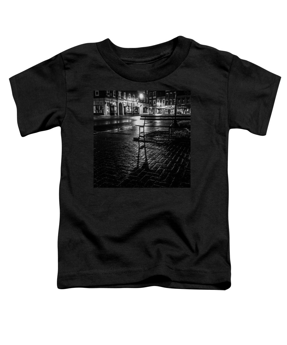 Toddler T-Shirt featuring the photograph Park bench on a rainy night by Kendall McKernon