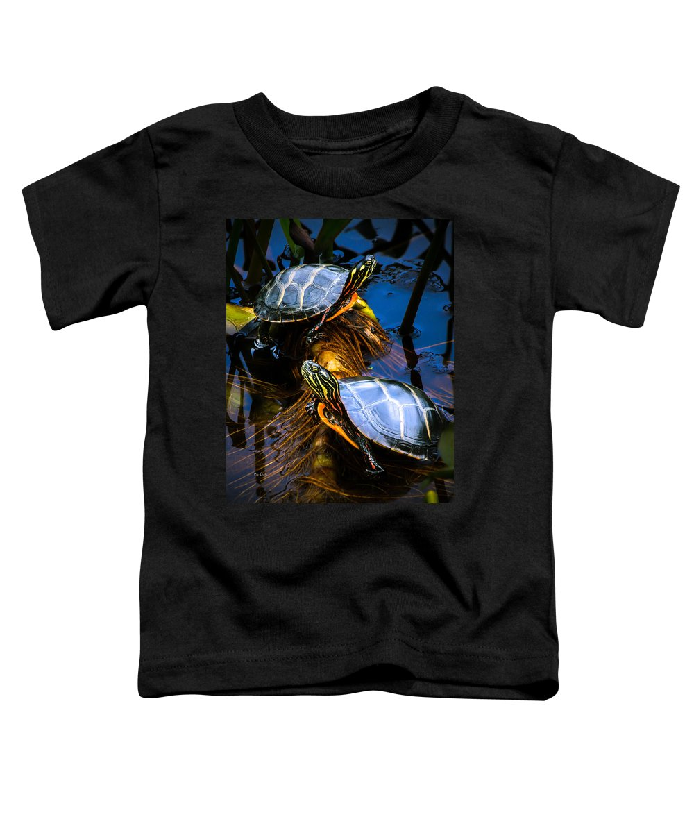 Reptile Toddler T-Shirt featuring the photograph Passing The Day With A Friend by Bob Orsillo