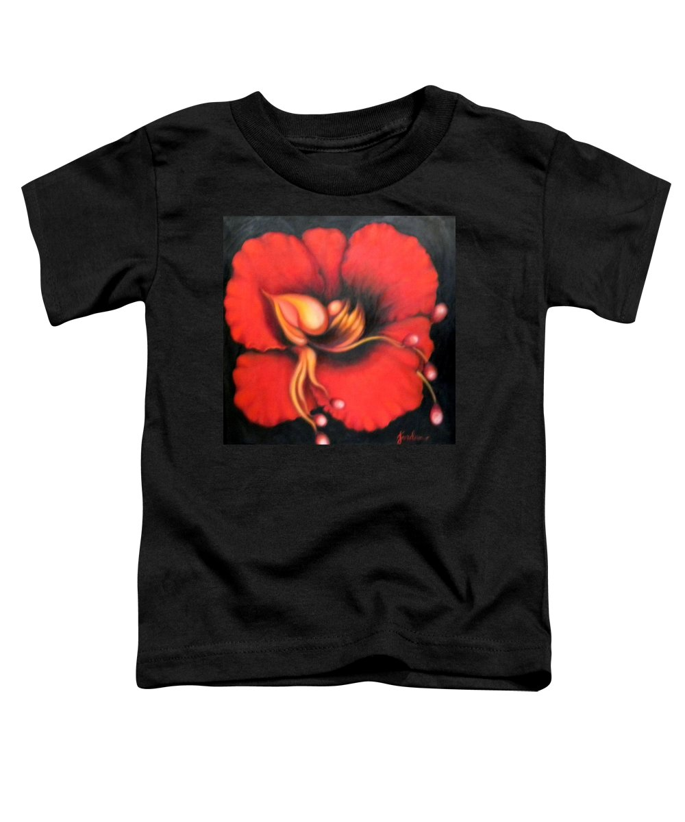 Red Surreal Bloom Artwork Toddler T-Shirt featuring the painting Passion Flower by Jordana Sands