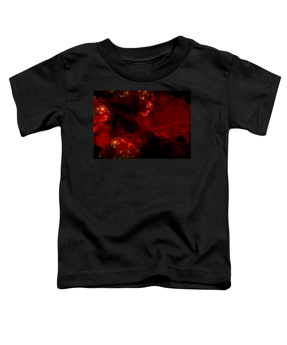 Passion Red Explosion Expression Blood Heart Toddler T-Shirt featuring the digital art Passional by Veronica Jackson