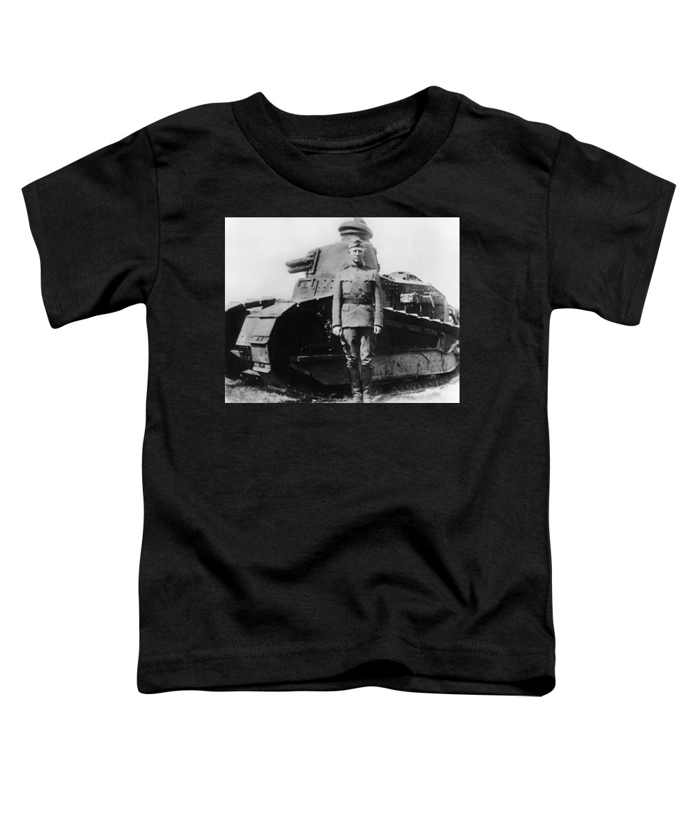 George Patton Toddler T-Shirt featuring the photograph Patton Beside A Renault Tank - Wwi by War Is Hell Store